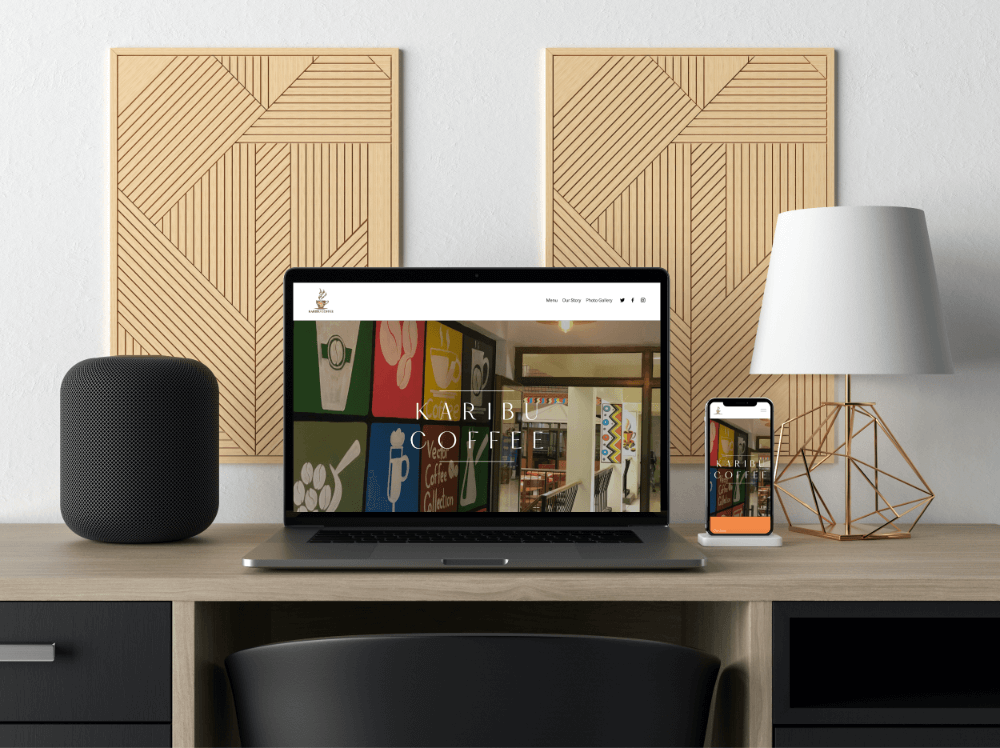 MacBook and iPhone mockup of a coffee shop website
